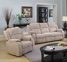 Beige Brown Fabric Material Manual Recliner Reclining Sofa Suite Dorset 311 3 Seater 1 Chair