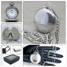 SILVER Antique Pocket Watch Solid Brass Case 42 MM Fob Chain Gift Box Unisex P89