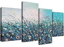 Large Teal and Cream Abstract Floral Canvas Multi 4 Panel 130cm Wide - 4260