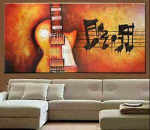 """YA1810 LARGE 48"""" HAND-PAINTED ABSTRACT OIL PAINTING ON CANVAS MUSIC UNFRAMED"""