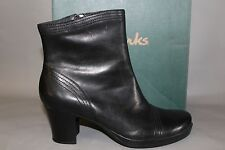 NEW Women's Clarks Toni Size 9.5 Medium Black Leather Dress Boots