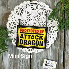 PROTECTED BY ATTACK Dragon Wood Ornament Work Space Flair USA DecoWord Mini Sign