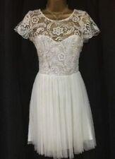 Lipsy Encaje Vestido Patinador Falda de Malla de 14 encajan FLARE Crochet Blanco Fiesta Noche