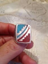 1980's Vintage Silver white Bronze 10 Men's Southwestern Gemstone Inlay Ring