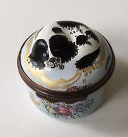 Halcyon Days Black & White King Charles Spaniel Bonbonniere Enamel Box, England