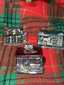 Christmas Village House Ornaments Lot of 3