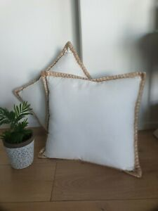 45x45cm X 2 Home Decor  Hamptons Cream/Cotton Linen & Burlap trim Cushion Cover