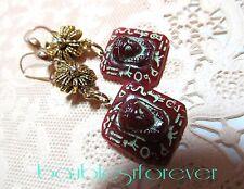 Vintage Art Deco Egyptian Revival Czech Glass Carnelian Stone Pierced Earrings