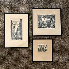 Michael J. Gallagher artist - set of 3 framed wood block prints, 1930s/1940s