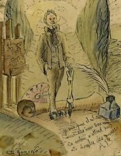 Vintage Old Watercolor Drawing - Dessin Ancien - Plume, Man with a Feather
