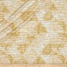 Encore Classical Composers Cream Gold Metallic Benartex Fabric 1/2 Yard