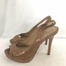 NWOB Saks Fifth Ave Alonna Nude Beige Snakeskin Platform Heels 8.5