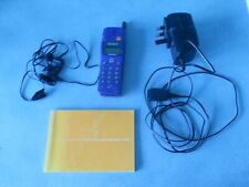 VINTAGE SONY CD5 BLUE MOBILE PHONE + AC CHARGER + INSTRUCTIONS + EAR PHONES