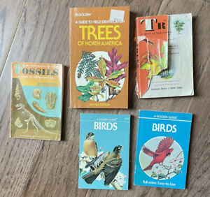 Vintage Lot of 5 Golden Guide Nature Books: Birds, Trees, Fossils, Trees