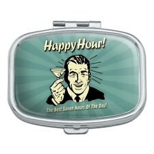 Happy Hour Best Seven Hours of the Day Funny Humor Rectangle Pill Case Box