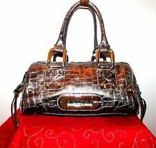 "GUESS GRAY EMBOSSED CROC PRINT SATCHEL 8"" H X 12"" L X 7"" DEPTH X 7"" DROP EUC"