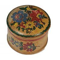 Vintage Folk Art Hand Carved Trinket Round Box Wooden Hand Painted Flowers Art