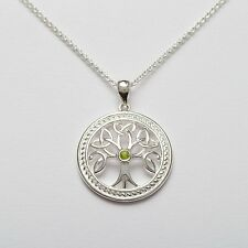 Sterling Silver Irish Celtic Tree of Life Pendant Trinity Knot Leaf Detail