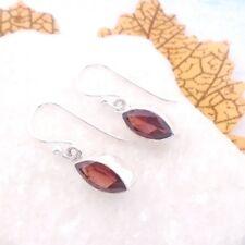 Granat rot red Navette Design Ohrringe Ohrhänger Hänger 925 Sterling Silber neu
