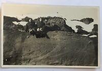 Lake Tahoe 1944 RPPC Postcard People Sitting Near Snow