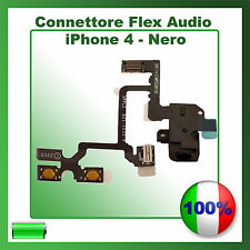 FLAT CONNETTORE JACK AUDIO VOLUME MUTE CUFFIA PER IPHONE 4 NERO FLEX