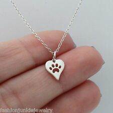Tiny Paw in Heart Necklace - 925 Sterling Silver - Paw Print Charm Cat Dog Pet