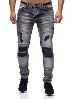 Herren Jeans Biker Jeanshose Grau Destroyed Stonewash Denim Slim Fit John Kayna