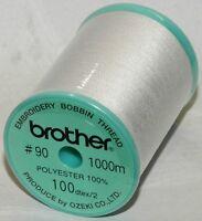 Brother Embroidery Machine Bobbin Thread 1000m - WHITE - A922