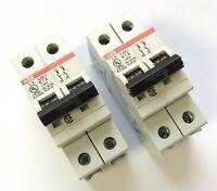 Lot of 2 ABB S202U K1A Miniature Circuit Breaker 240VAC 1A 50/60Hz K-Curve 2Pole