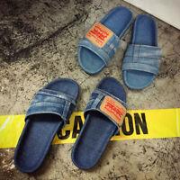 Womens Girls Summer Sandals Shoes Slip On Flat Blue Denim Comfy  Slipper