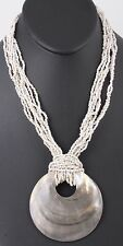 FASHION LARGE MOTHER OF PEARL PENDANT WHITE BEADED MULTI STRAND NECKLACE 4532B