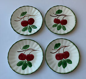 "Blue Ridge Pottery Big Apple Green Trim 6 1/4"" Set of 4 Bread Plates"