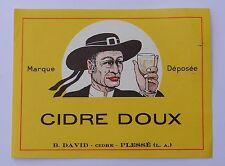 Ancienne étiquette Cidre doux David Plessé costume breton breizh bzh