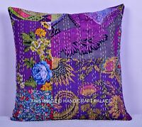 Indian Kantha Patchwork Multicolor Cushion Cover Cotton Case Throw Decor 16""