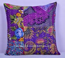 Indian Patchwork Multi color Pillow Case Throw Cushion Cover Kantha Decor 16""