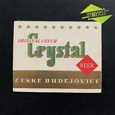 VINTAGE 1960'S CRYSTAL ORIGINAL CZECH BEER CEZKE BUDEJOVICE BOTTLE LABEL