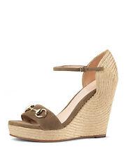 0f4d89ea716e6 Gucci Carolina Suede Espadrille Wedge Sandal Size 40 Taupe MSRP  595