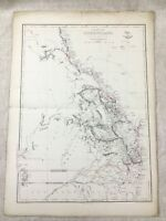 1858 Antique Map of Australia Colony of Queensland Hand Coloured 19th Century