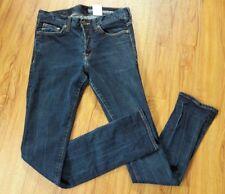 H&M Conscious Women's Size 28/32 Dark Denim Slim Low Waist Jeans Button Fly