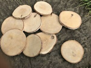 10x Round Wood log Slices Discs 9-10cm DIY Craft For Party Wedding Christmas