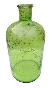 Green Glass Bottle / Vase In Stone Design, Vase for Living Room, Home Decoration