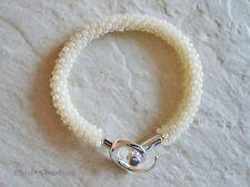 Ivory Cream Beaded & Braided Woven Kumihimo Seed Bead Fashion Bracelet
