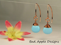 Turquoise Teardrop Briolette Copper Wire Wrapped Handcrafted Marquise Earrings
