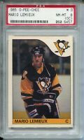 1985 OPC Hockey #9 Mario Lemieux Penguins Rookie Card RC Graded PSA Nm Mint 8 OC