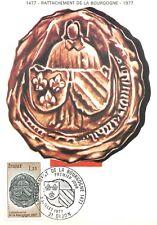 Carte Maximum FDC France RATTACHEMENT DE LA BOURGOGNE 1977 DIJON n1