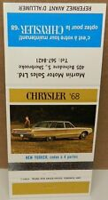 CHRYSLER 1968 NEW YORKER CANADA MATCH BOOK COVER MOPAR DEALERSHIP