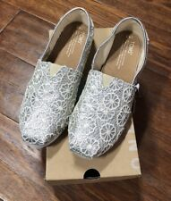 TOMS CLASSIC Silver Crochet Glitter Lace Flats, Size 4.5 Youth, NWTIB