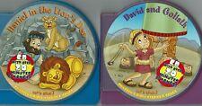 Kids Childrens Bible Songs Stories Music Lot of 2 CD Books Daniel David Goliath