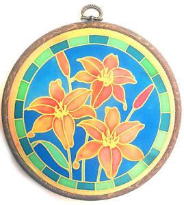 Silkcraft Silk Painting - Habotai 8 Suncatcher - 18cm diameter -Lily