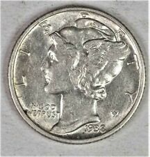 1938 P Mercury Dime Almost Uncirculated 90% Silver Coin Au